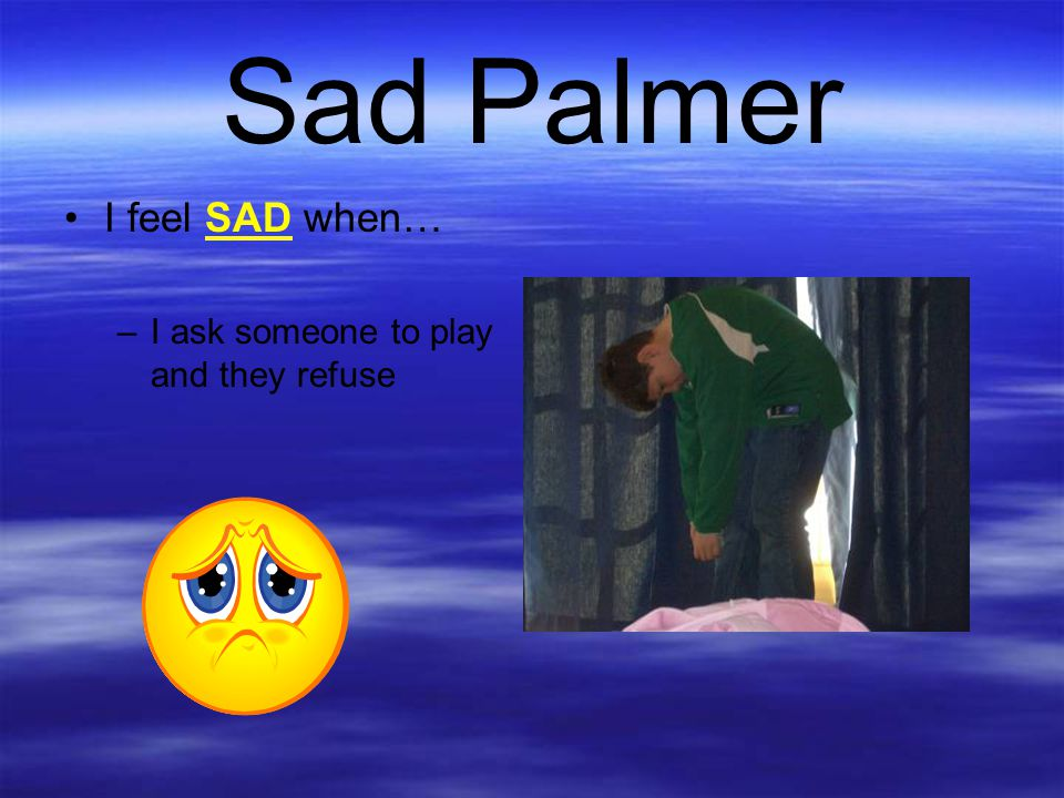 Sad Palmer I feel SAD when… I ask someone to play and they refuse