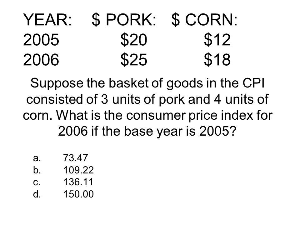 YEAR: $ PORK: $ CORN: 2005 $20 $12 2006 $25 $18