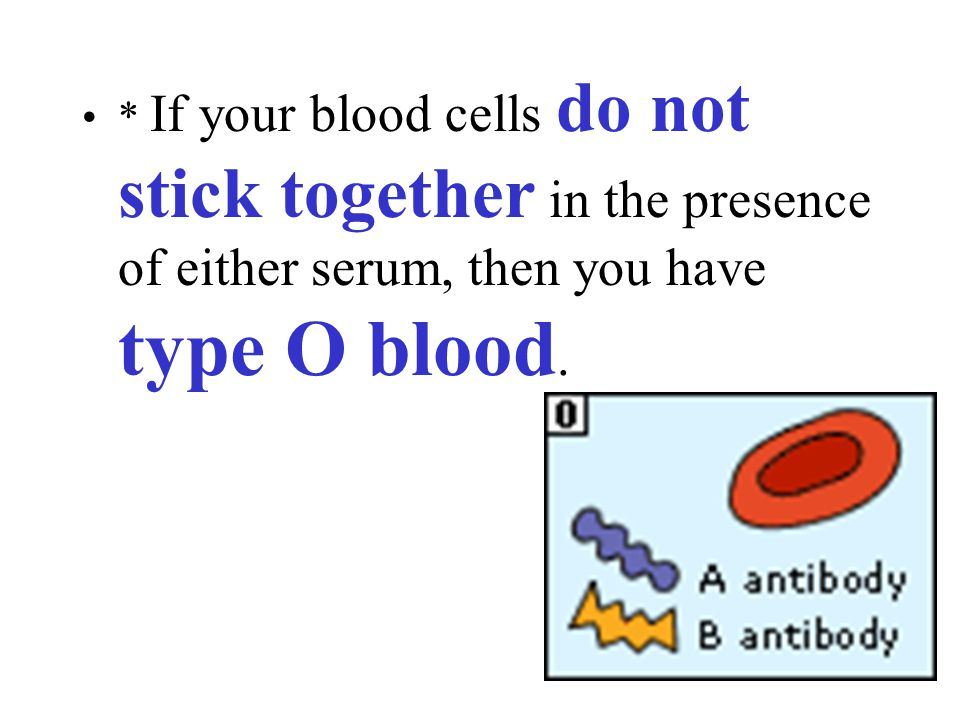 * If your blood cells do not stick together in the presence of either serum, then you have type O blood.