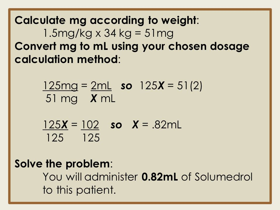 Calculate mg according to weight: