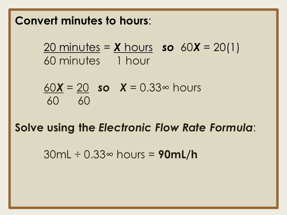 Convert minutes to hours: