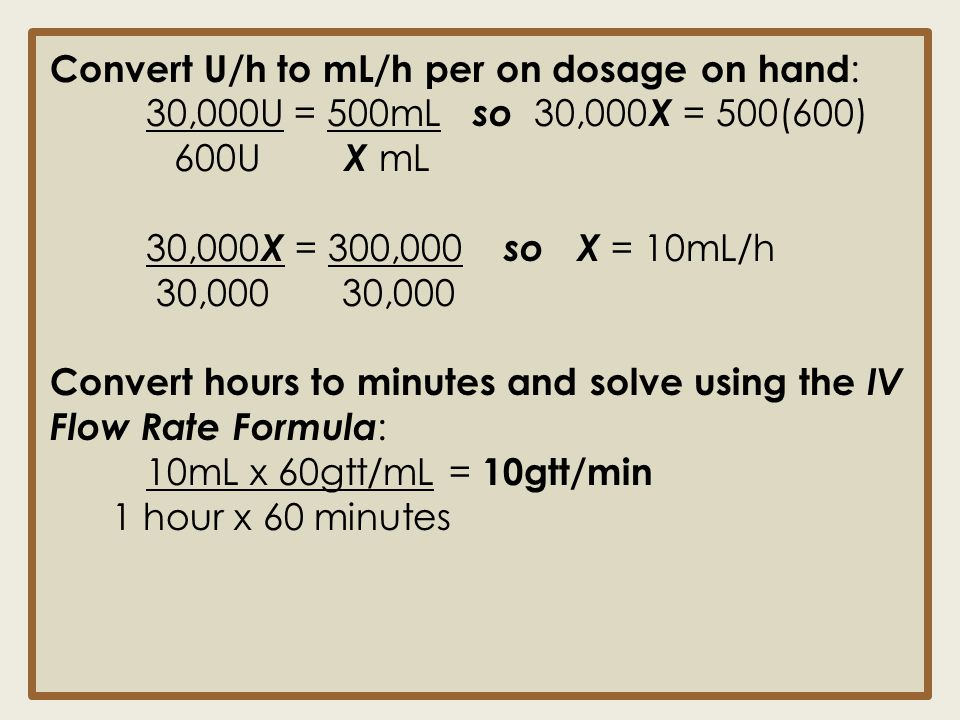 Convert U/h to mL/h per on dosage on hand:
