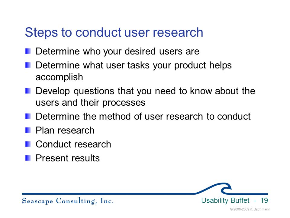 Steps to conduct user research