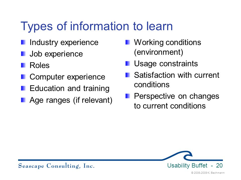 Types of information to learn