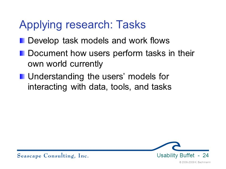 Applying research: Tasks