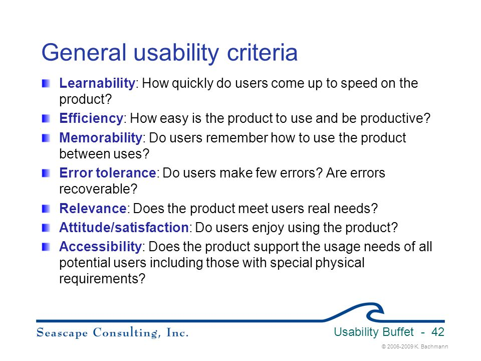 General usability criteria