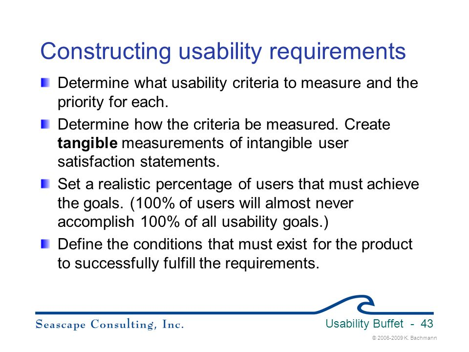 Constructing usability requirements