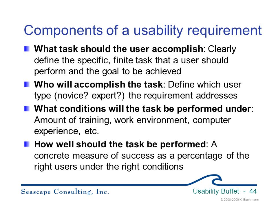 Components of a usability requirement