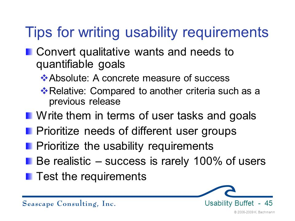 Tips for writing usability requirements