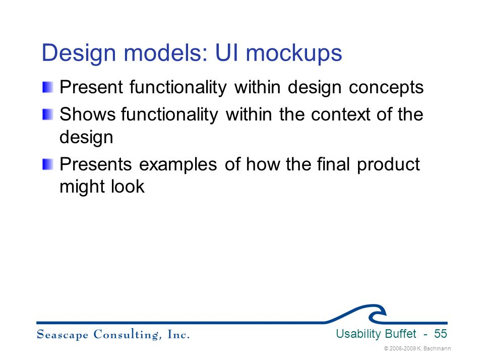 Design models: UI mockups