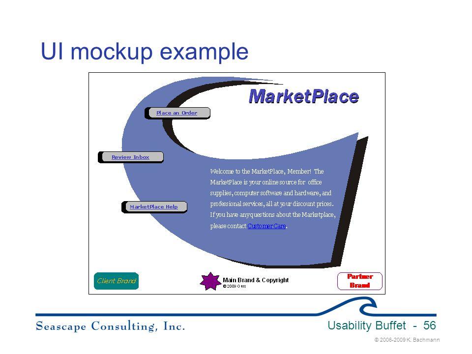 UI mockup example Usability Buffet 3/31/2017