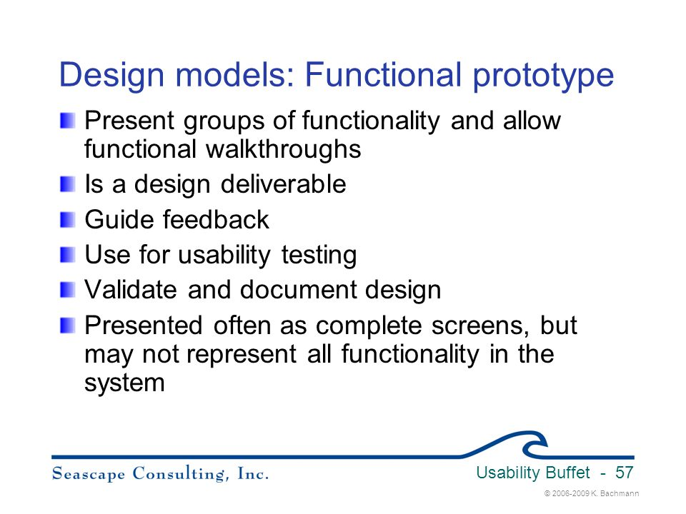 Design models: Functional prototype