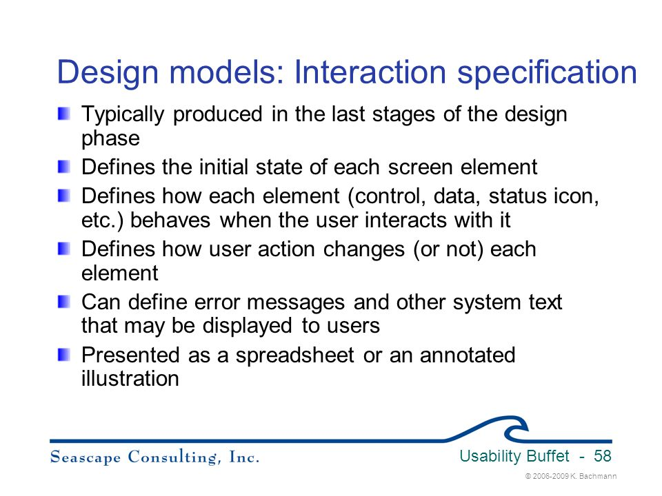 Design models: Interaction specification