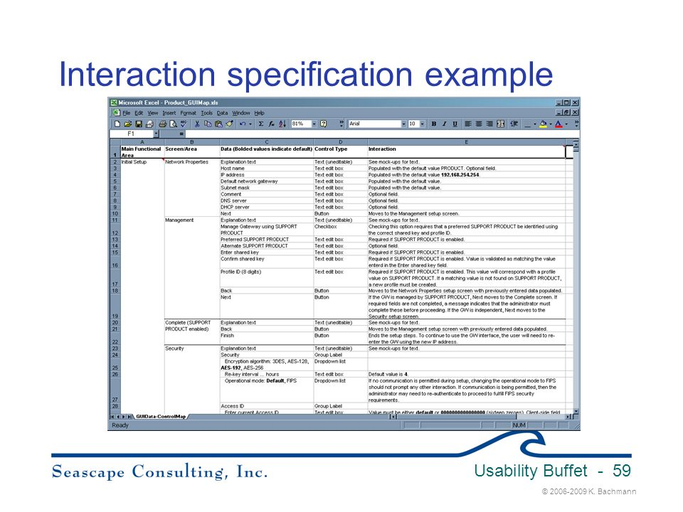 Interaction specification example