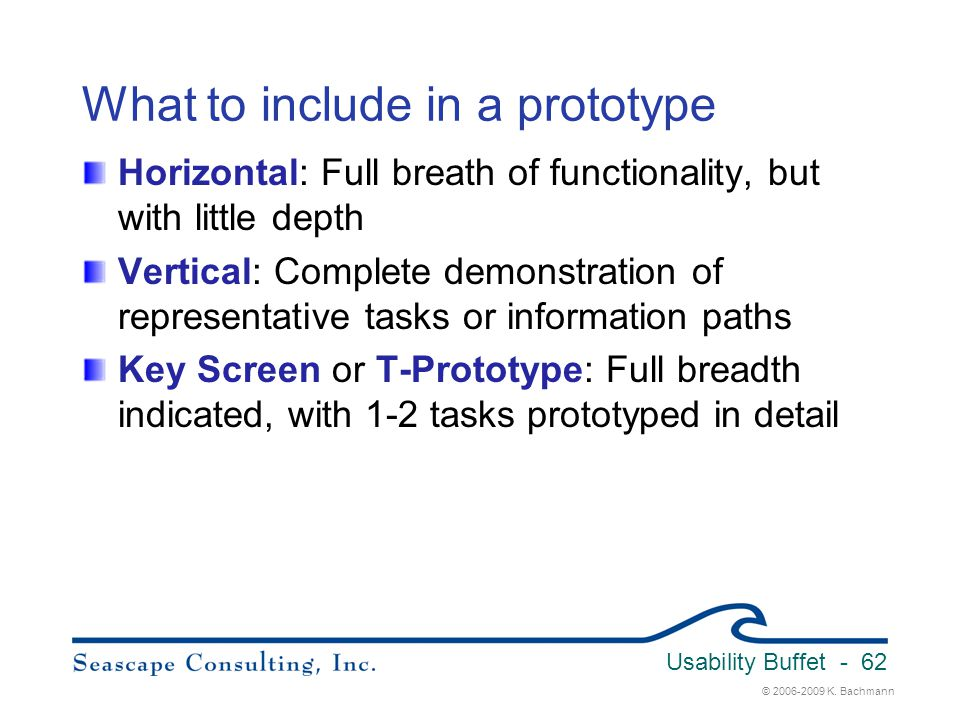 What to include in a prototype