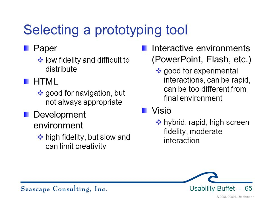 Selecting a prototyping tool