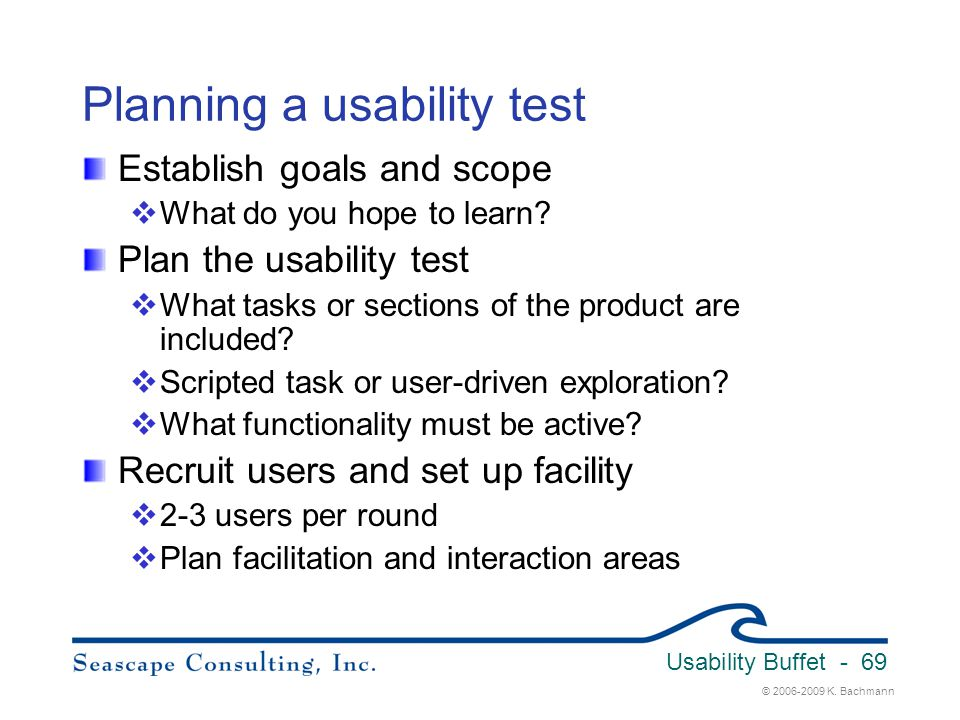 Planning a usability test