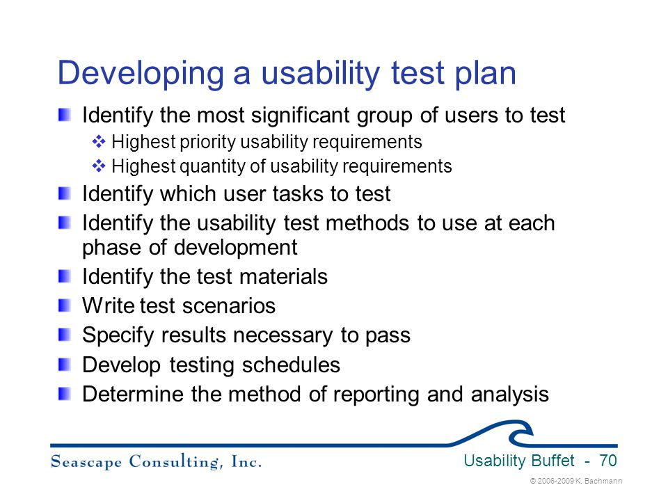 Developing a usability test plan