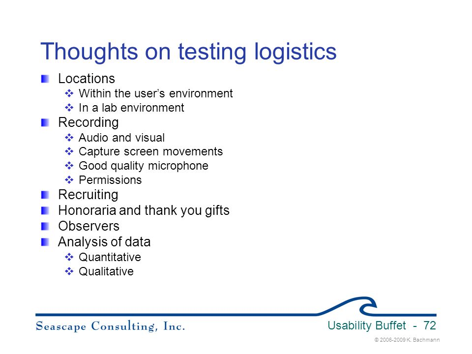 Thoughts on testing logistics