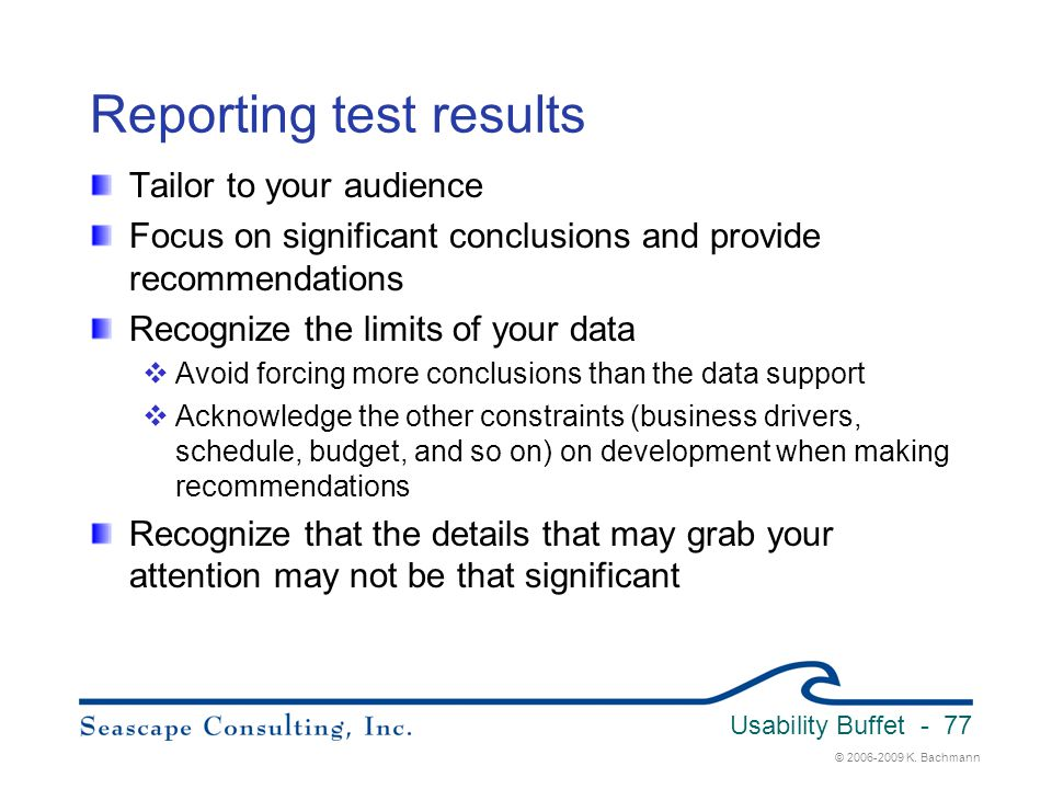 Reporting test results