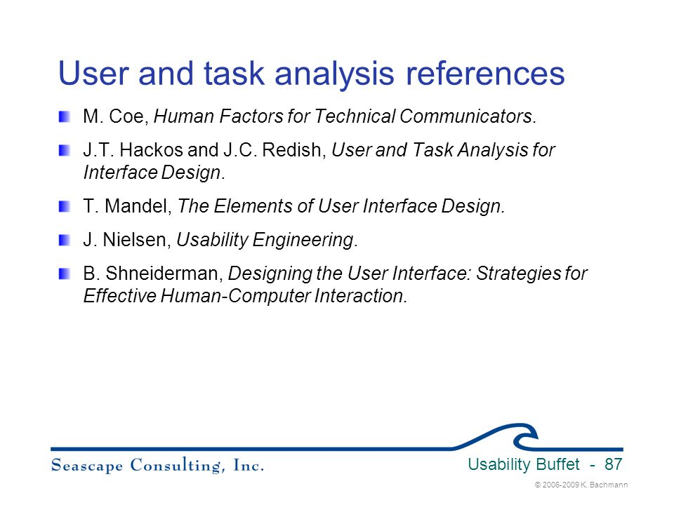 User and task analysis references