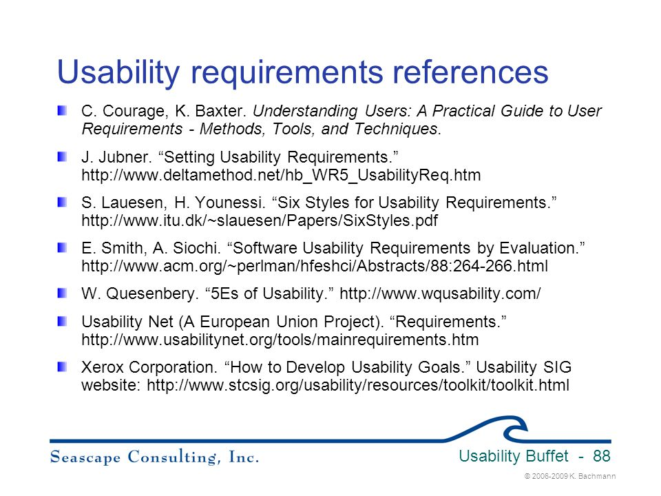Usability requirements references