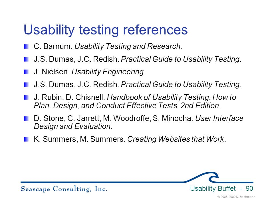 Usability testing references