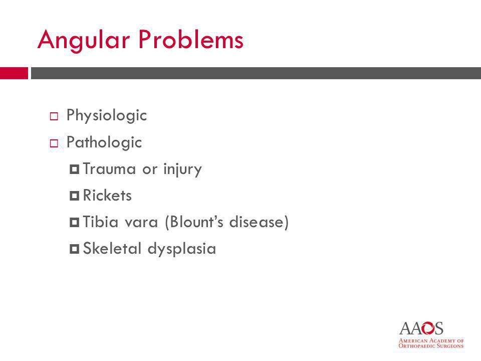 Angular Problems Physiologic Pathologic Trauma or injury Rickets