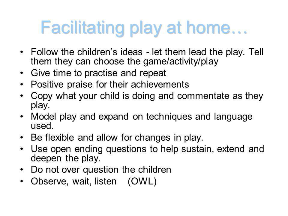 Facilitating play at home…