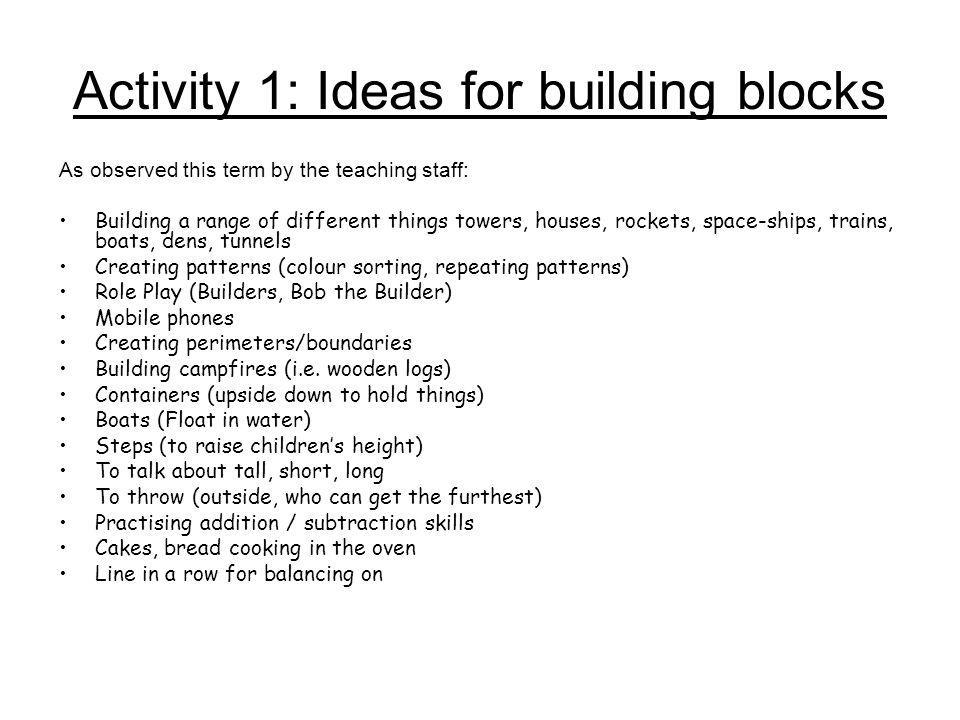 Activity 1: Ideas for building blocks