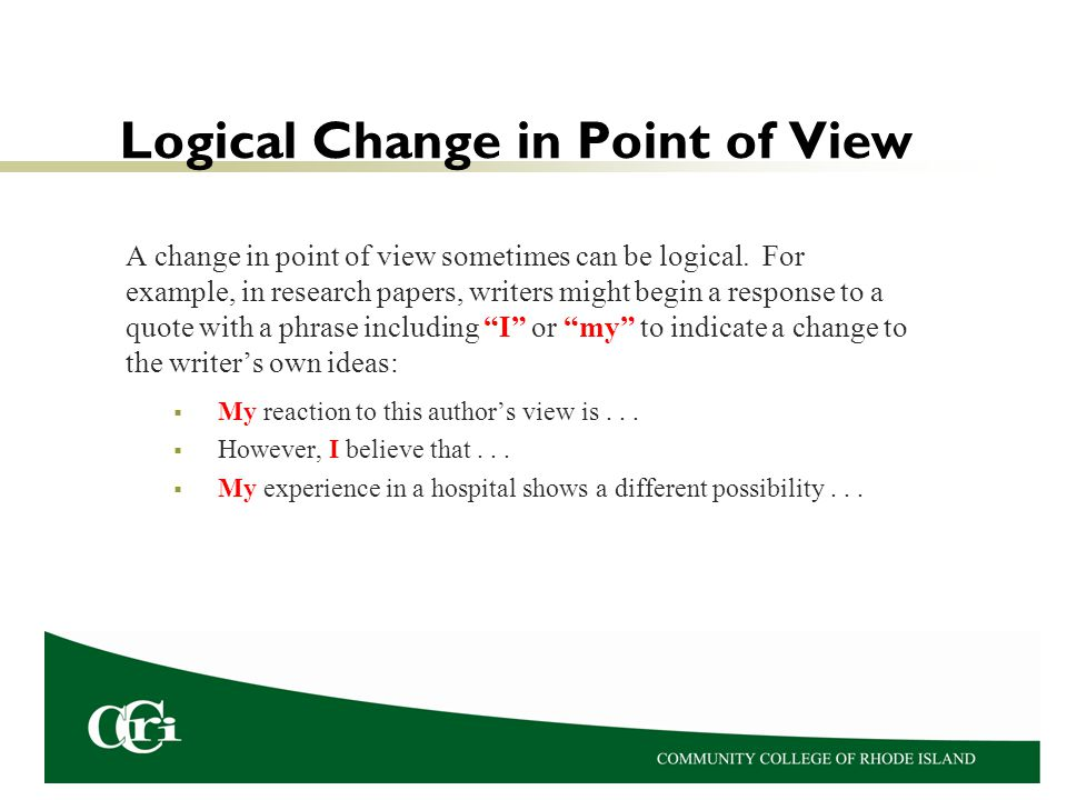 Logical Change in Point of View