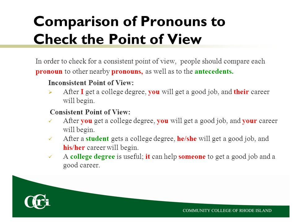 Comparison of Pronouns to Check the Point of View