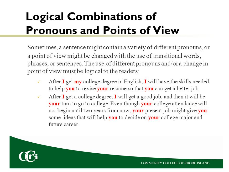 Logical Combinations of Pronouns and Points of View