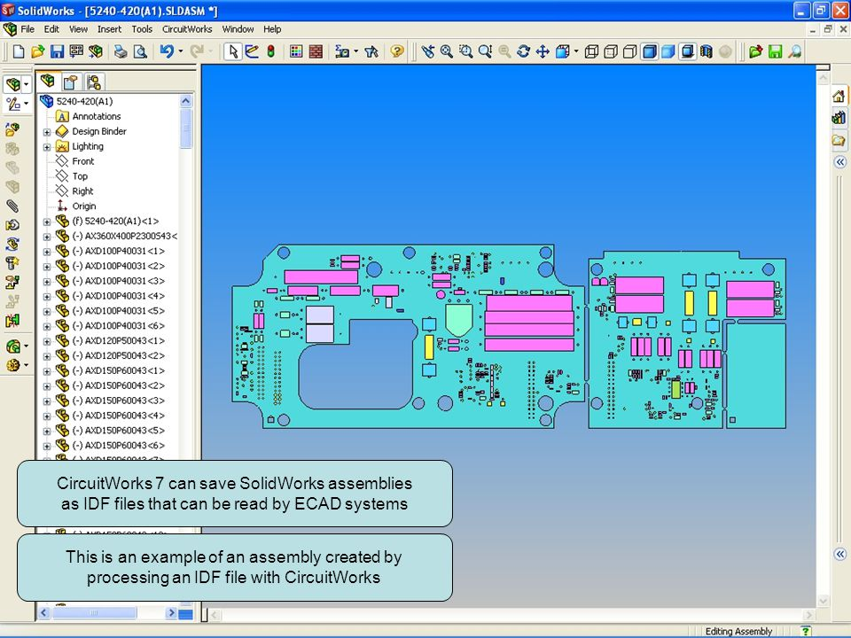 CircuitWorks 7 can save SolidWorks assemblies