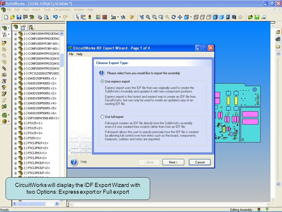 CircuitWorks will display the IDF Export Wizard with