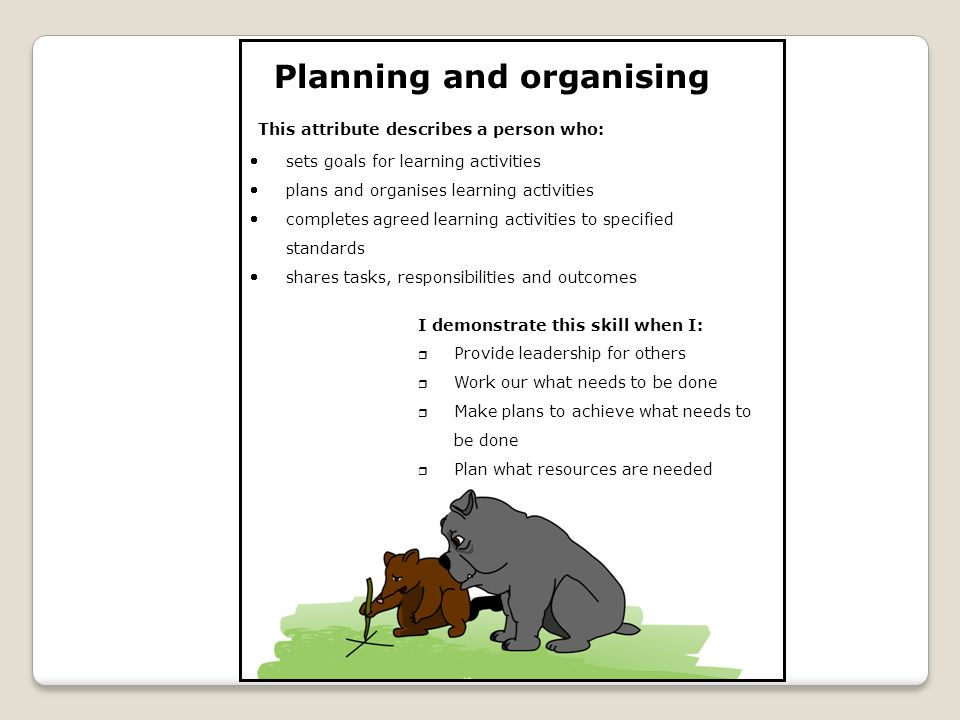 Planning and organising