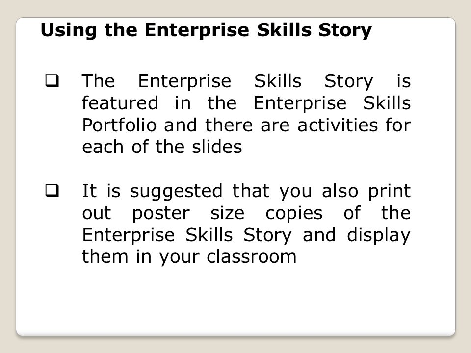 Using the Enterprise Skills Story