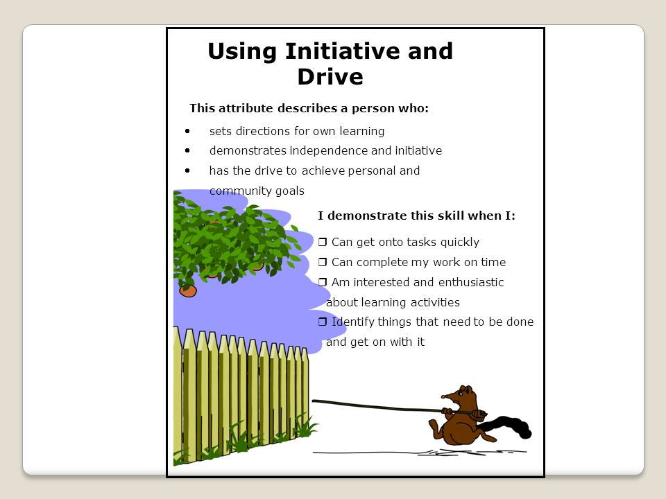 Using Initiative and Drive