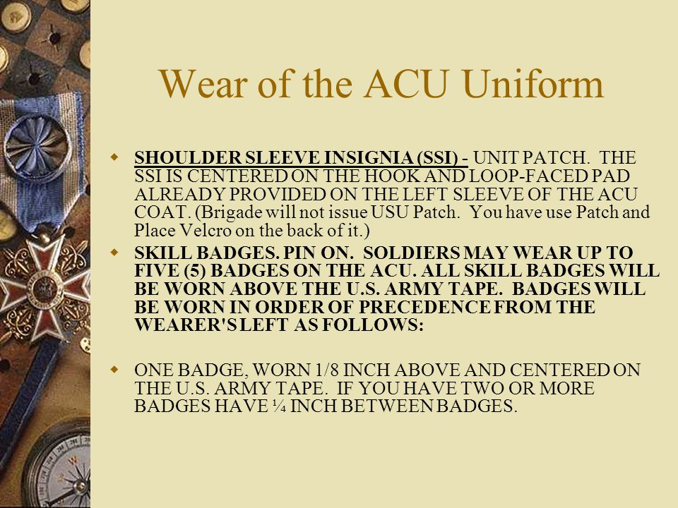 Wear of the ACU Uniform