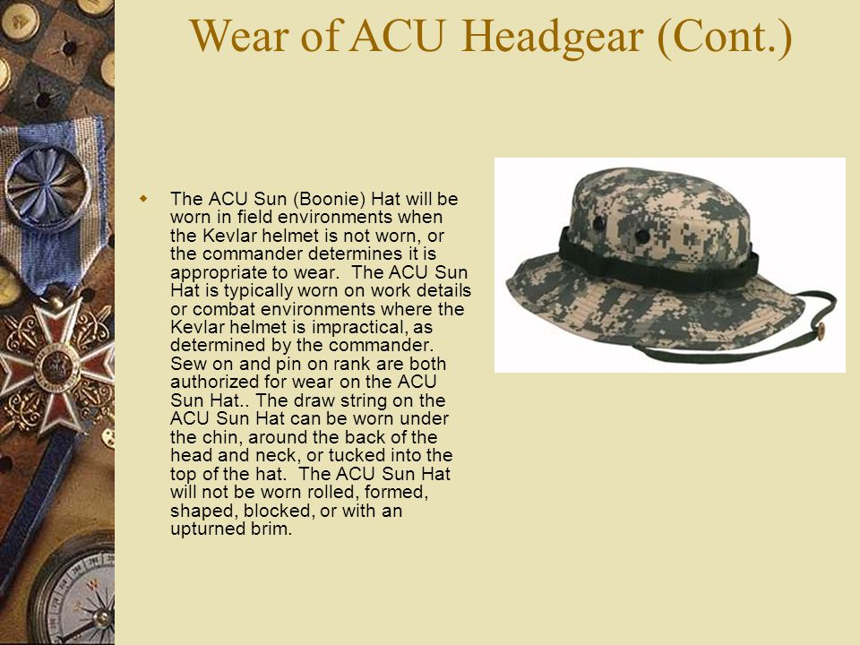 Wear of ACU Headgear (Cont.)