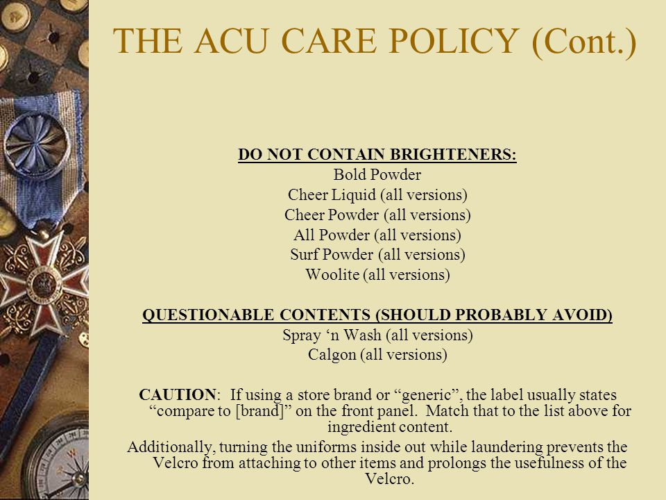 THE ACU CARE POLICY (Cont.)