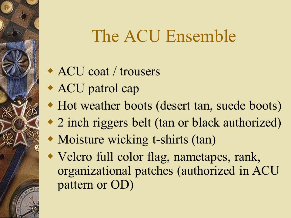 The ACU Ensemble ACU coat / trousers ACU patrol cap