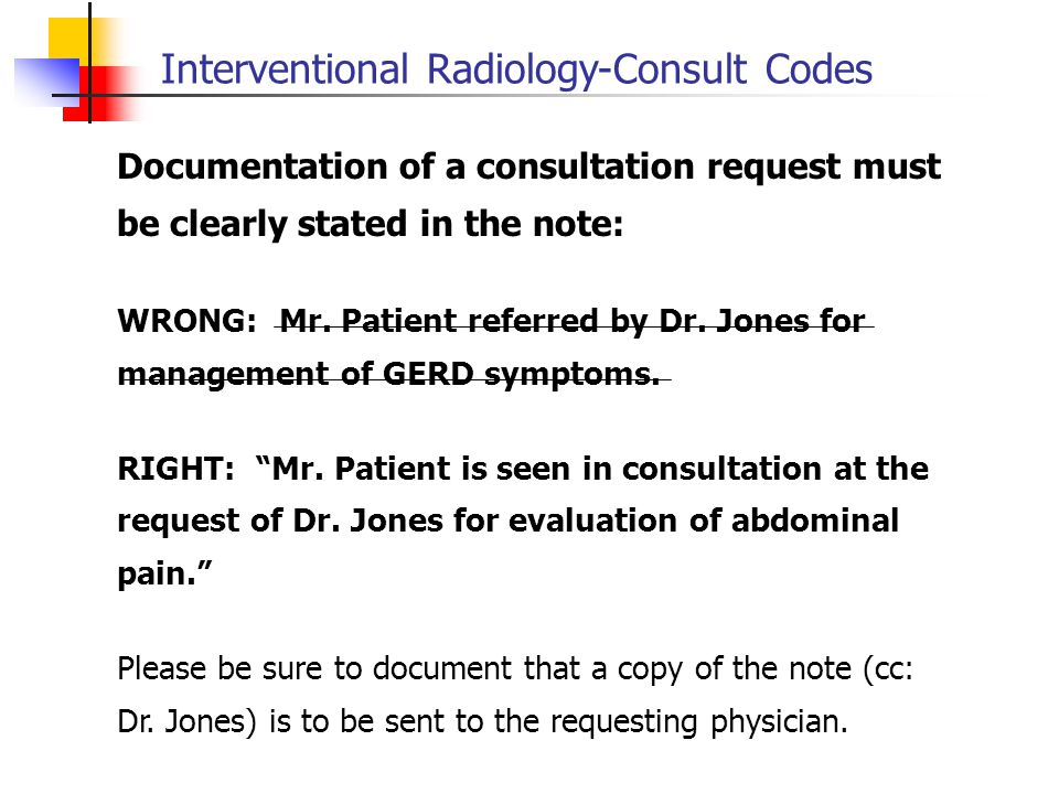 Interventional Radiology-Consult Codes