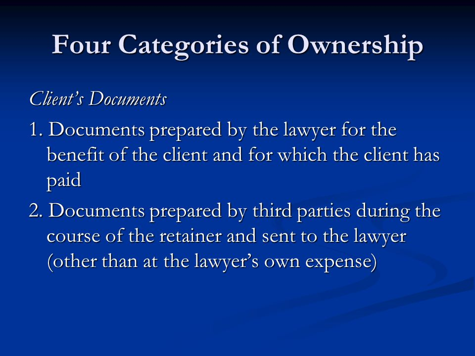 Four Categories of Ownership