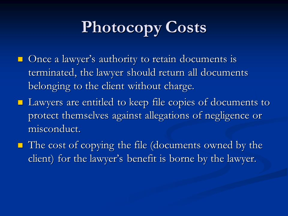 Photocopy Costs