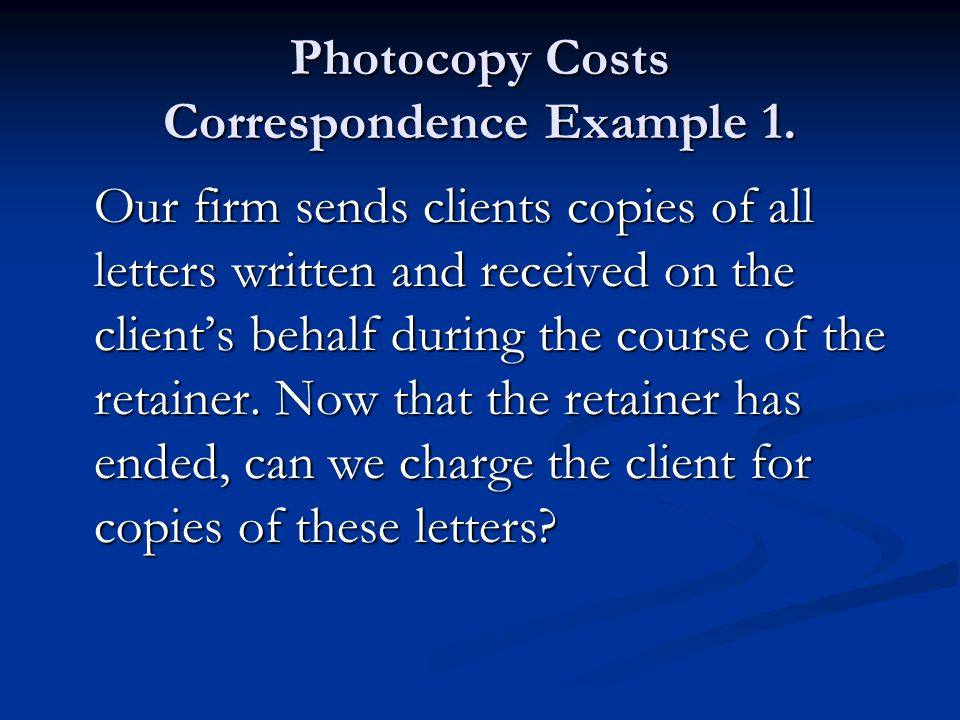 Photocopy Costs Correspondence Example 1.
