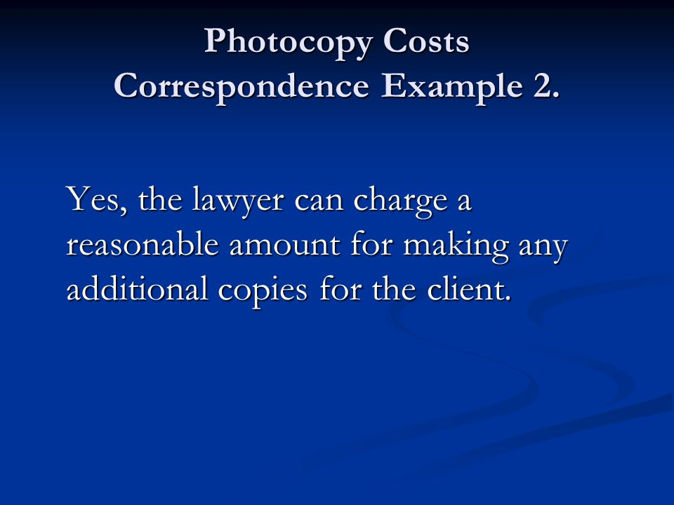 Photocopy Costs Correspondence Example 2.