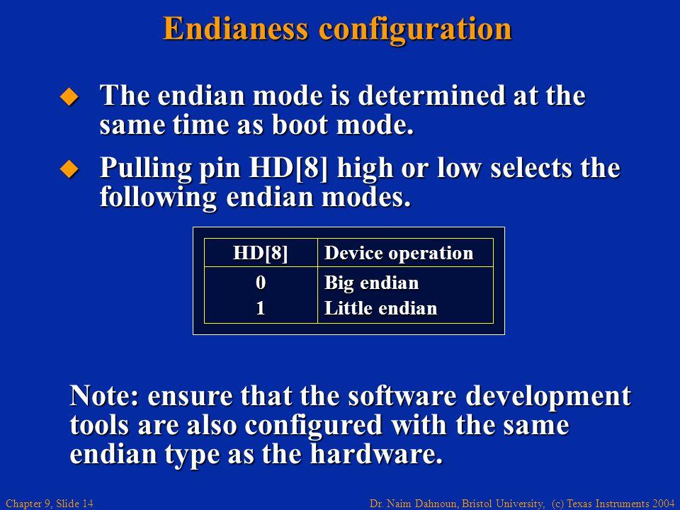 Endianess configuration