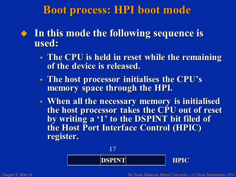 Boot process: HPI boot mode