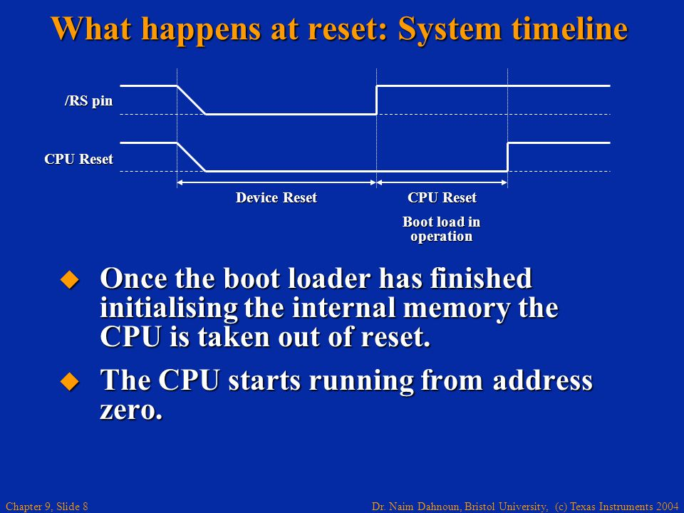 What happens at reset: System timeline
